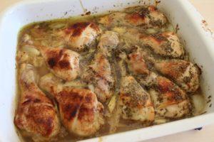 Ovnbagte kyllingelår med honning, timian og paprika